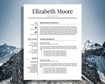 Resume Template | Modern Resume Template | Professional Resume Template | 3 Page Resume | CV Template | Instant Download Resume | MS Word