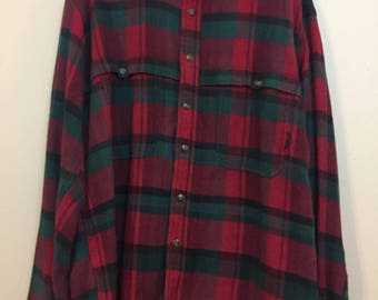 Vintage Timberland Plaid Weathergear button shirt flannel Medium