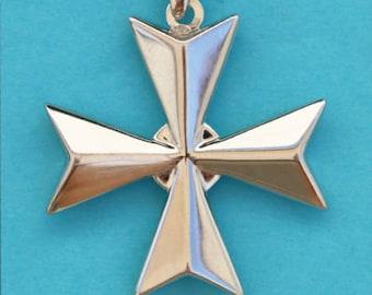 Sterling Silver Maltese Cross Pendant Amalfi Cross