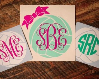 Personalized monogram Volleyball vinyl decal sticker for laptop, YETI cup, tumbler, car, mug, and more!