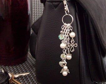 White Bag Charm , Angel Bag Charm , Cross Bag Charm , Bag Accessories ,  Gift for Her , Stocking Filler