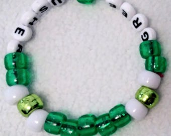 Green Gusher unique Kandi bracelet