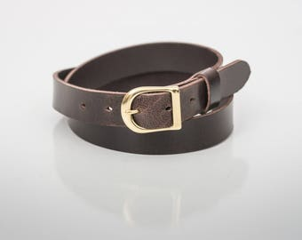 """Espresso Leather Belt (1"""" width) - Gold or Silver Finish"""