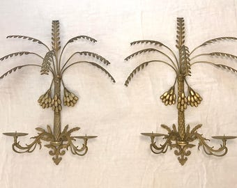 Pair of Hollywood Regency Gold Finish Candle Wall Sconces | Vintage | Mid Century | Palm Tree | Date Cluster | Each holds 2 candles