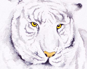 Tiger Watercolor White Tiger Painting Wildlife Wall Art Decor Monochrome Animal Watercolor Painting Nursery Home Decor White Tiger Gift