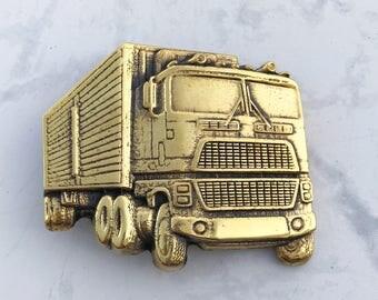 Vintage Men's Belt Buckle Truck Solid Brass 1978 Baron Buckle