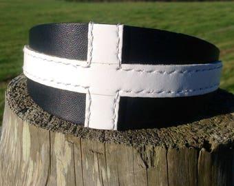 Leather Cornish Flag Dog Collar Lurcher/Greyhound/Deerhound/Saluki/Borzoi/Sighthound