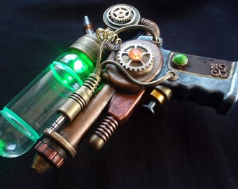 STEAMPUNK gun nautical, modified nerf type toy, cosplay / display, working light G0008