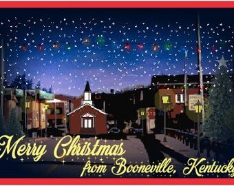 Set of 10 Booneville, Kentucky Christmas Themed Postcards