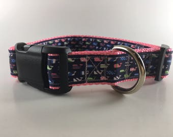 Multi Whales Pink Dog Collar