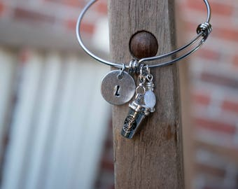 HANDMADE Coffee Initial Charm Bangle Bracelet
