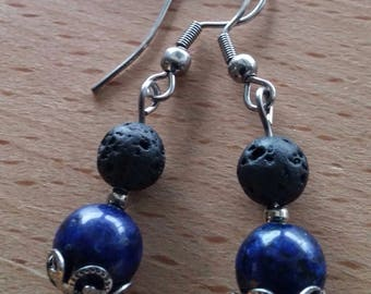 Earrings with lapis lazuli gemstone and lava stones