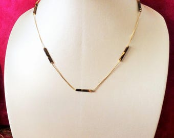 18K Solid Yellow Gold Tiger Eye Necklace
