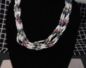 Red, white, blue twisted necklace