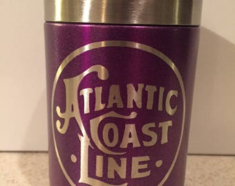 Atlantic Coast Line Railroad Stainless Steel can cooler powder coat