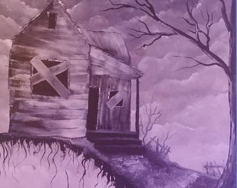 Acrylic painting haunted house on canvas