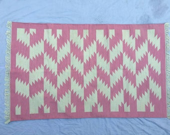 3x5 Cotton Rug Dhurrie-Light Pink And White