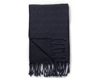 Alpaca scarf knitted - blue / dark grey