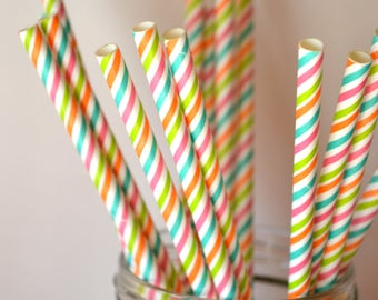 10 Rainbow Striped Paper Straws