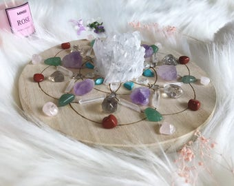 15cm Health and Healing Complete Set of Crystal Grid