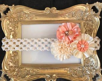 Peach and cream headband for little girls, newborns, baby girls, toddler girls.