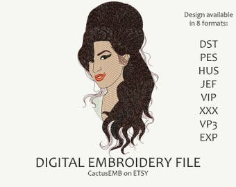 INSTANT DOWNLOAD - Amy Winehouse embroidery design. Amy Jade Winehouse. Embroidery design