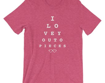 I Love You to Pieces Eye Chart Valentines Lover Short-Sleeve T-Shirt