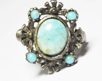 Beautiful Sterling Silver Turquoise Victorian Ring 20mm Size 6