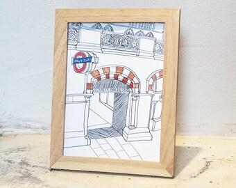 6x8 Ash Wooden Framed Art Print / Travel Moment Series