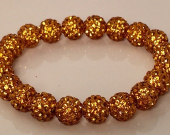 Yellow Gold Stretch Bracelet, Sparkle Bracelet, Yellow Gold Shamballa Bracelet, Disco Bead, Crystal Pave, Rustic Style, Stretch Bracelet