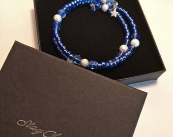 Sapphire Blue and sparkly Silver Bracelet