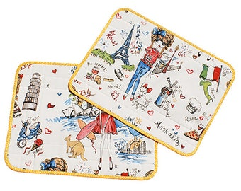 "Set of two placemats Betty ""Working girls"""