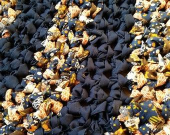 Blue Rag Rug Round Blue Rug Blue Crochet Rug Crochet Round Rug Blue Circle Rug Navy Rug Navy Rag Rug