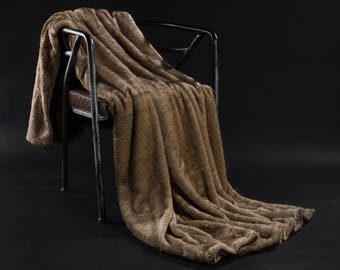 Brown Faux Fur Weight Blanket - weight Blanket, Throw Blanket, Faux Fur Throw