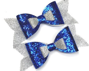 """2 4"""" Cobalt Blue and Silver Glitter Hair Bows (left and right) - Perfect for Christmas - custom colours available."""