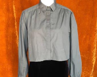 Crop Top, Vintage 1980s Blouse, Women's Medium, Army Green