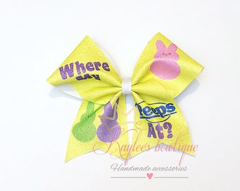 Where my peeps at ? - cheer bow- sublimation -glitter- easter  bow-