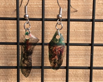 Sparkly Epoxy Earrings - Red, Green, Black, Clear