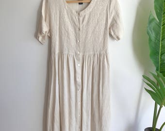 Vintage Linen Blend Minimalist Dress Size Medium