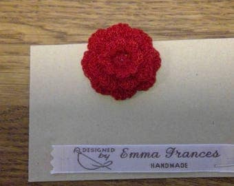 Handmade Crocheted Red Flower Brooch by Emma Frances Boutique