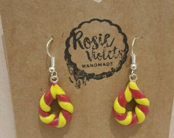 Candy coloured polymer clay drop earrings