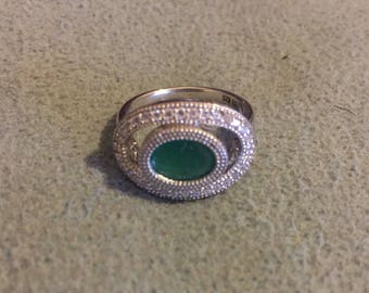 Natural columbian emerald sterling silver ring