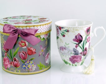 Floral Bouquet Purple White Porcelain Mug with Matching Gift Box Microwaveable