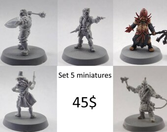5 Heroes Pathfinder/D&D set 28mm Darkest Dungeon collectible miniatures for RPG