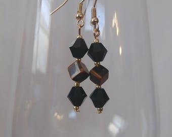 Black Crystal and Tigers eye earrings