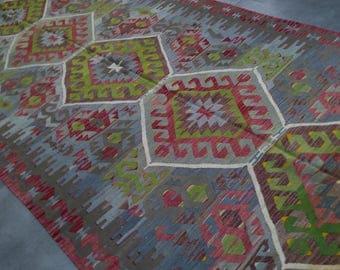 """Handmade kilim rug,158x331cm 62""""x130"""",Turkish kilim rug,Anatolian kilim rug,vintage kilim rug,tribal kilim rug, Handmade kilim rug"""