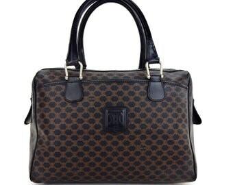 Authentic Vintage Céline Macadam Canvas Leather Tote Bag Italy