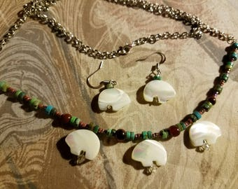ear ring necklace set mother pearl
