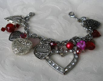 Silver Hearts and Red Beaded Bracelet