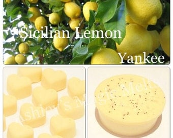 3 Sicilian lemon yankee candle soy wax melts, strong melts, cheap wax melts, highly scented melts, scented gifts for her, designer dupe melt